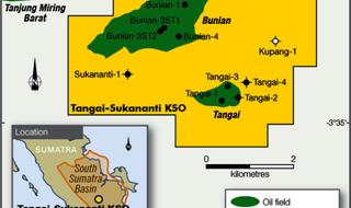 Indonesian oil field flying